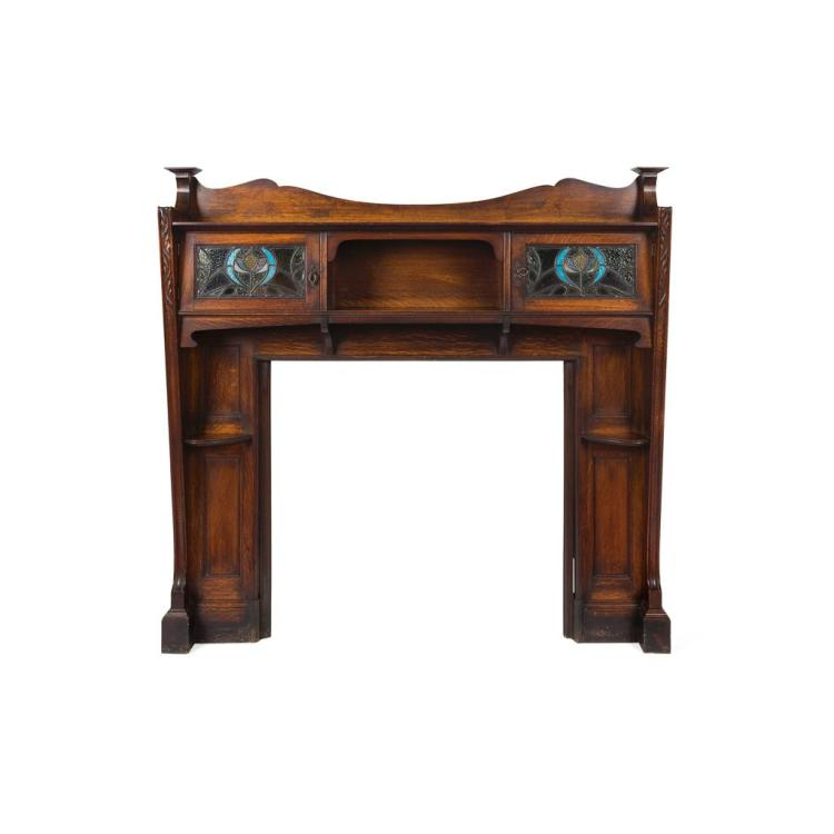 MANNER OF GEORGE FAULKNER ARMITAGE ARTS & CRAFTS OAK FIRE SURROUND, CIRCA 1900 168cm wide,162cm high, 30cm deep