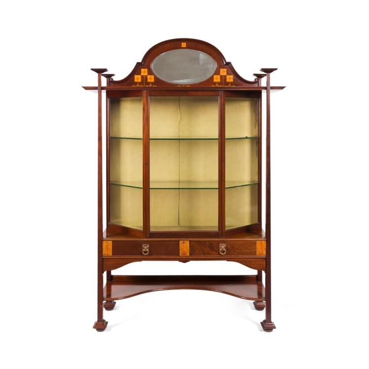 ATTRIBUTED TO BATH CABINETMAKERS MAHOGANY AND INLAID DISPLAY CABINET, CIRCA 1910 135cm wide, 195cm high, 40cm deep