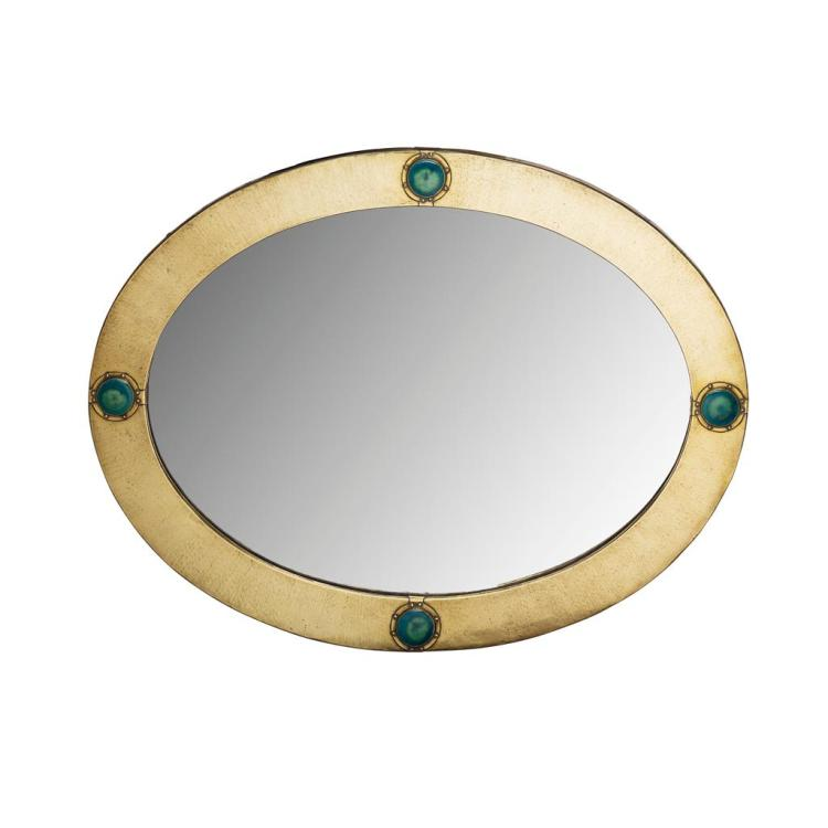 LIBERTY & CO., LONDON LARGE ARTS & CRAFTS BRASS FRAMED WALL MIRROR, CIRCA 1910 63.5cm x 84cm