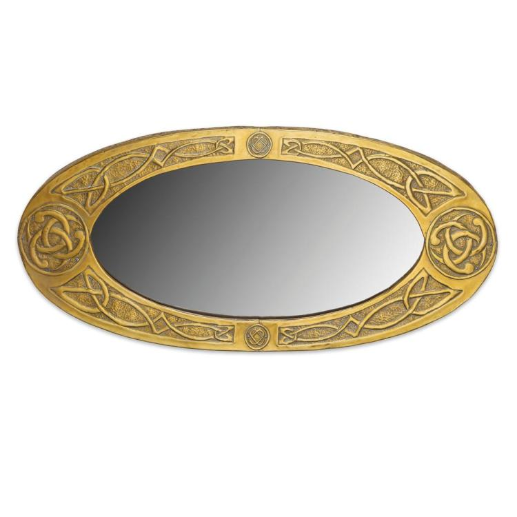ARTS & CRAFTS BRASS FRAMED WALL MIRROR, CIRCA 1900 39cm x 87cm