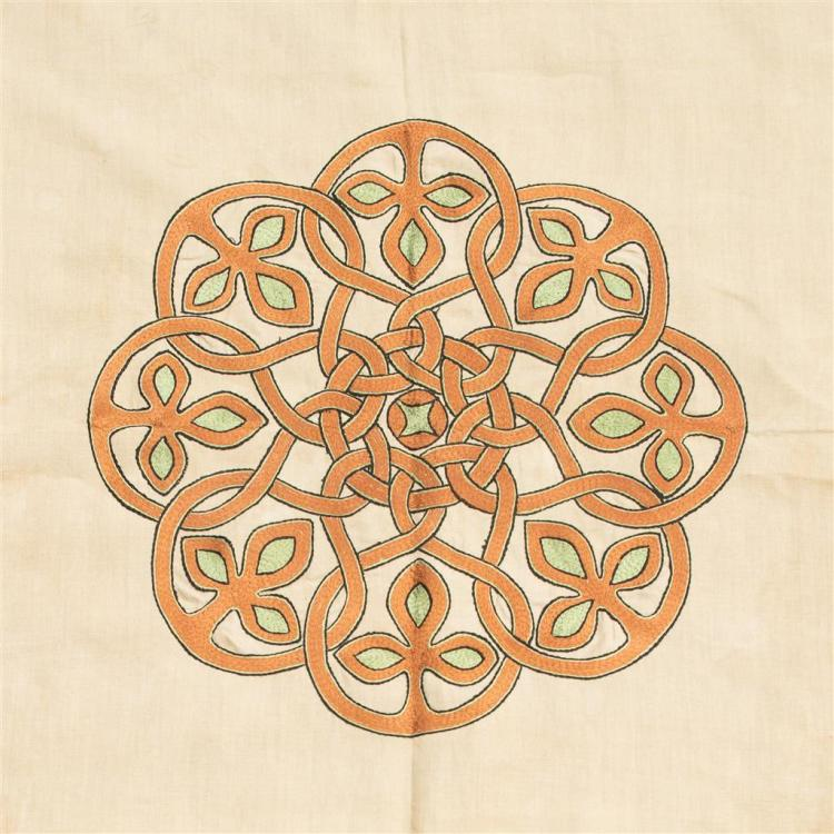 HANNAH MCCORMICK FOR ALEXANDER RITCHIE, IONA CELTIC REVIVAL EMBROIDERED BEDSPREAD, CIRCA 1920 219cm x 170cm