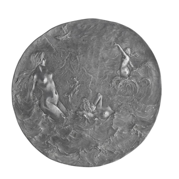 EMMANUEL VILLANIS (1858-1914) ART NOUVEAU WHITE METAL WALL PLAQUE, CIRCA 1890 43cm diameter