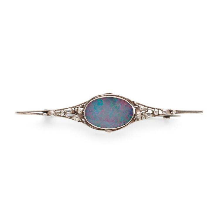 ATTRIBUTED TO RHODA WAGER ARTS & CRAFTS DOUBLET CUT OPAL AND WHITE METAL BAR BROOCH, CIRCA 1920 8.2cm across