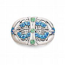 JESSIE MARION KING (1875-1949) FOR LIBERTY & CO., LONDON SILVER AND ENAMEL BELT BUCKLE, 1907 7.2cm across