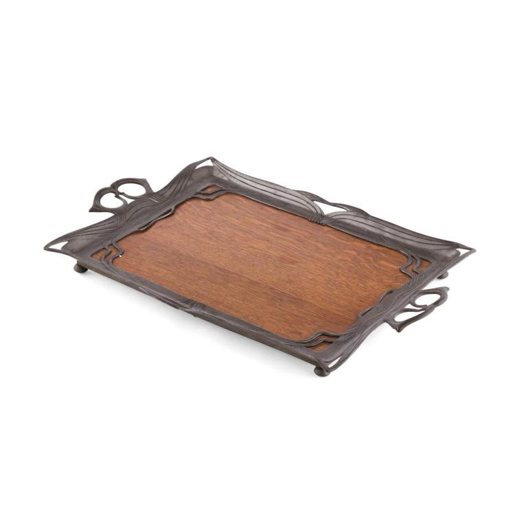 ORIVIT ART NOUVEAU PEWTER-MOUNTED OAK SERVING TRAY, CIRCA 1900