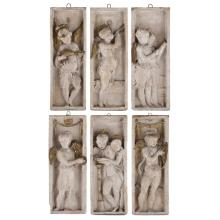ENGLISH SCHOOL SET OF SIX PLASTER RELIEF PANELS, LATE 19TH CENTURY 57.5cm x 21.5cm