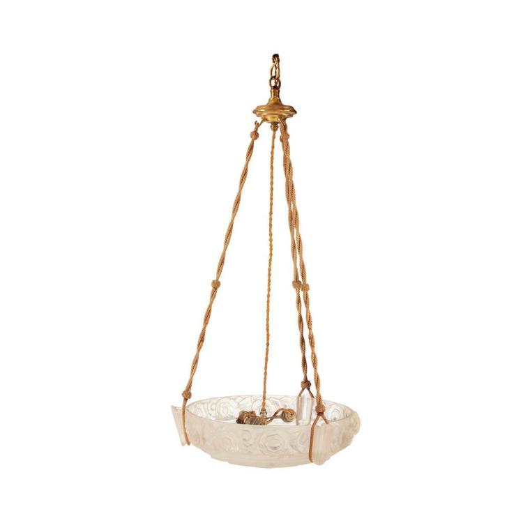 MARIUS-ERNEST SABINO (1878-1961), PARIS CLEAR AND FROSTED GLASS PLAFFONIER, CIRCA 1925 48cm diameter