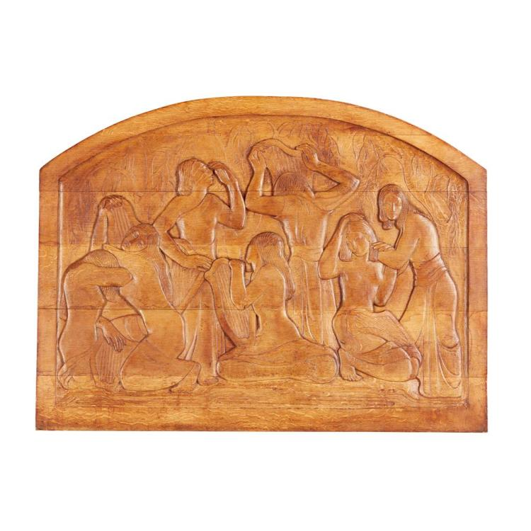 ATTRIBUTED TO THOMAS WHALEN CARVED HARDWOOD PANEL, CIRCA 1930 75cm x 100cm
