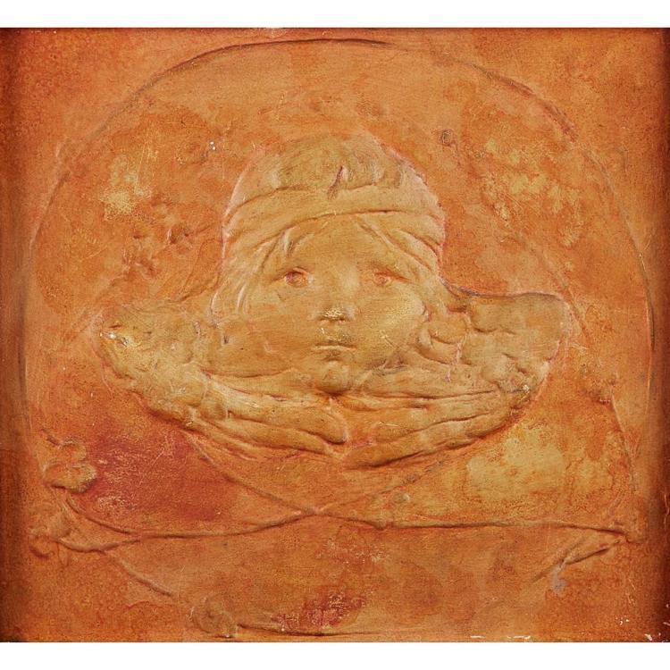 CASSANDIA ANNIE WALKER FOR DELLA ROBBIA POTTERY, BIRKENHEAD TERRACOTTA PLAQUE, CIRCA 1910 27.5 cm x 30cm