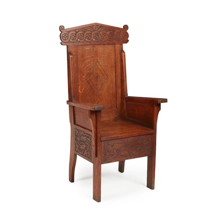 ARTS & CRAFTS OAK THRONE CHAIR, CIRCA 1900 63cm wide, 126cm high, 47cm deep