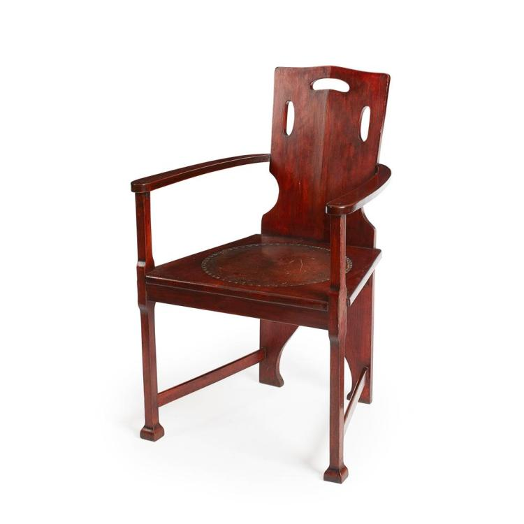 GERMAN SCHOOL JUGENDSTIL STAINED HARDWOOD ARMCHAIR, CIRCA 1900 64cm wide, 100cm high, 50cm deep