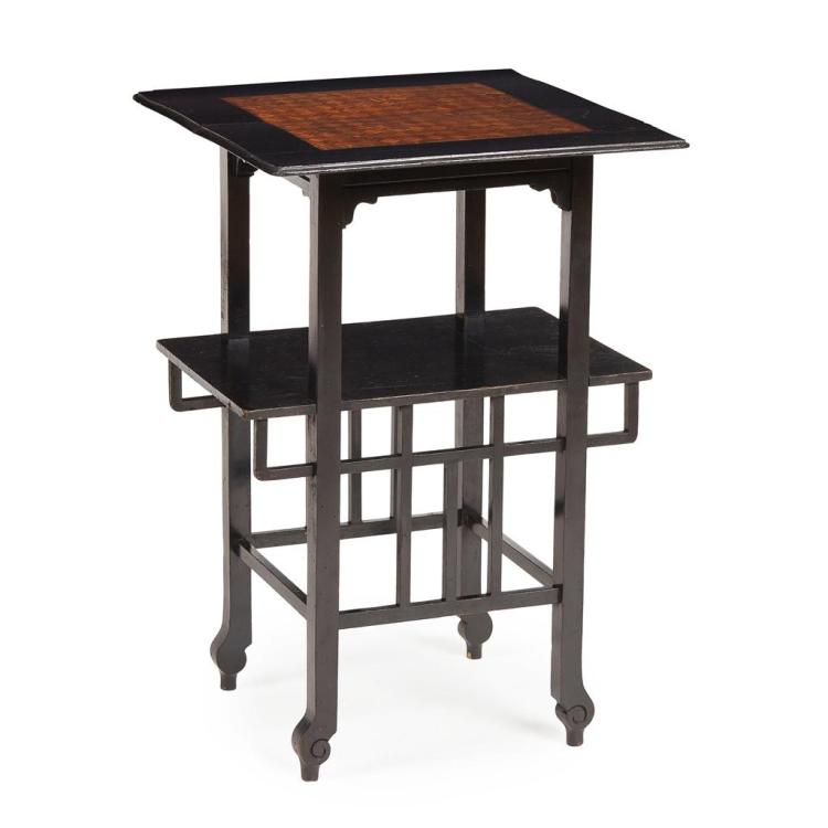 MANNER OF E. W. GODWIN EBONISED WOOD AND PARQUETRY INLAID OCCASIONAL TABLE, CIRCA 1880 46cm wide, 89cm high, 46cm deep