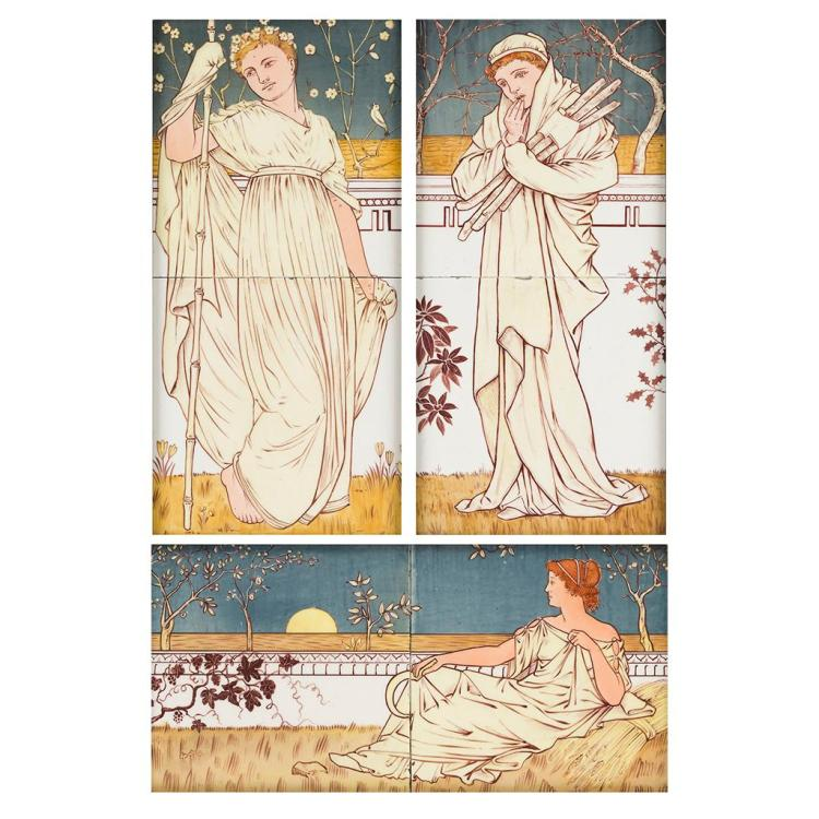 ATTRIBUTED TO E.W. GODWIN FOR MINTON, HOLLINS & CO. GROUP OF THREE TWO-TILE FRAMED PANELS, CIRCA 1880 each tile approx 15cm square
