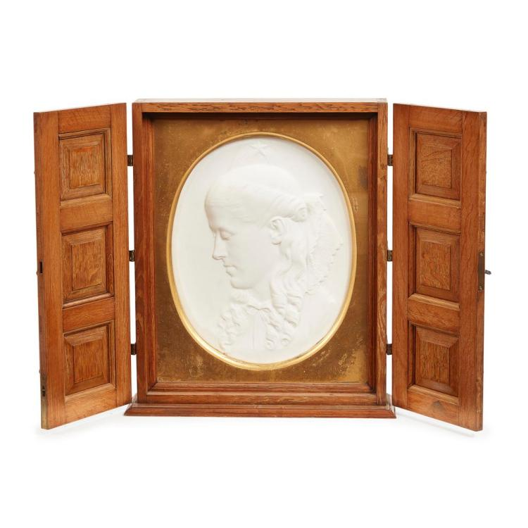 JAMES FORSYTH (1827-1910) OAK-CASED MARBLE RELIEF PANEL, CIRCA 1880 panel 36cm x 46cm, case 50cm x 60cm x 15cm