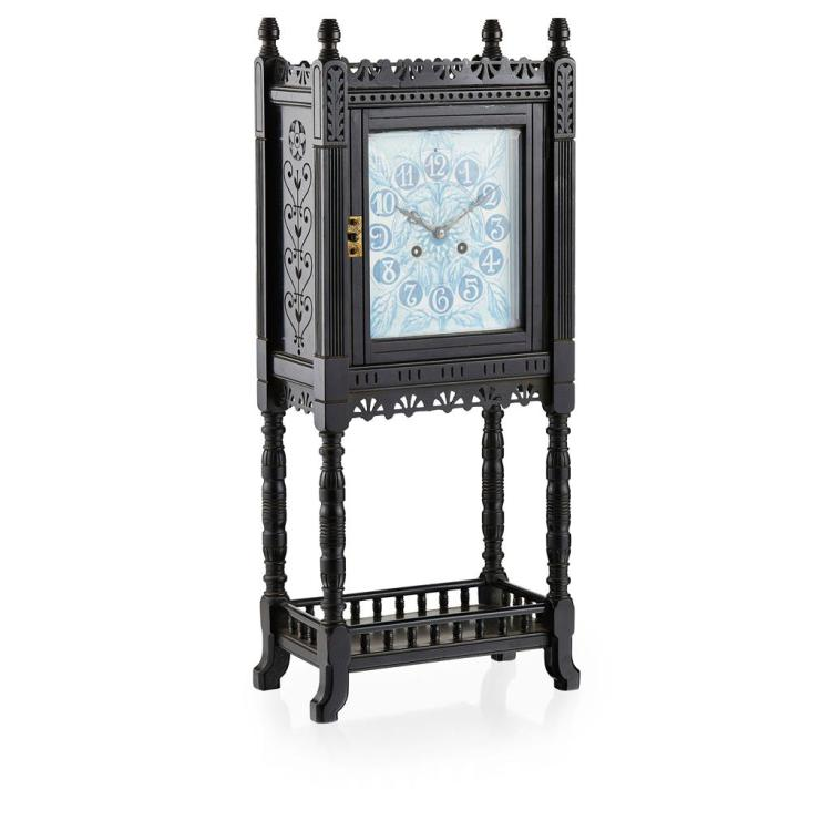 LEWIS FOREMAN DAY (1845-1910) FOR HOWELL, JAMES & CO., LONDON EBONISED BIRCH AND PORCELAIN MANTLE CLOCK, CIRCA 1880 overall 23cm wid...