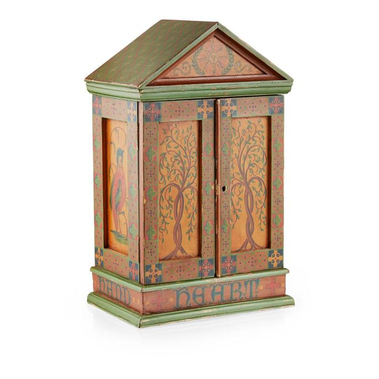ARTS AND CRAFTS PAINTED TABLE CABINET, CIRCA 1900 31.5cm wide, 50cm high, 21cm deep