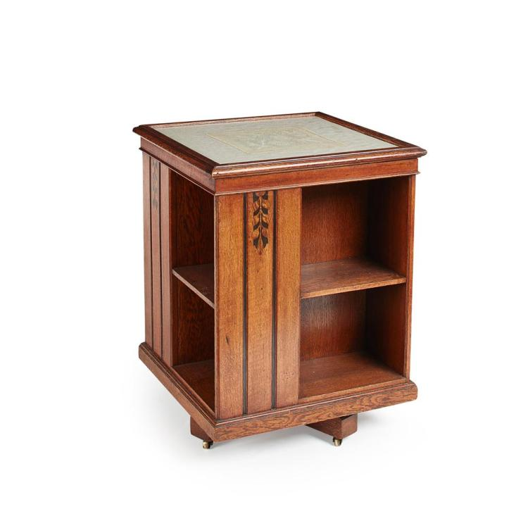 WARING & GILLOW ARTS & CRAFTS OAK REVOLVING BOOKCASE, CIRCA 1910 58cm square, 77cm high