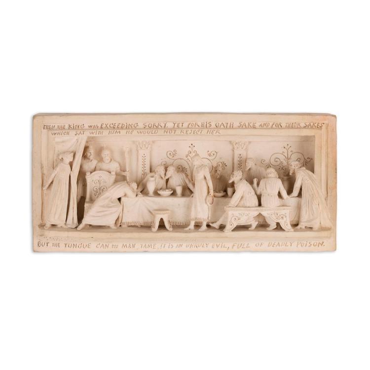 GEORGE TINWORTH (1843-1913) FOR DOULTON, LAMBETH TERRACOTTA PANEL, CIRCA 1870 14.5cm x 31.5cm