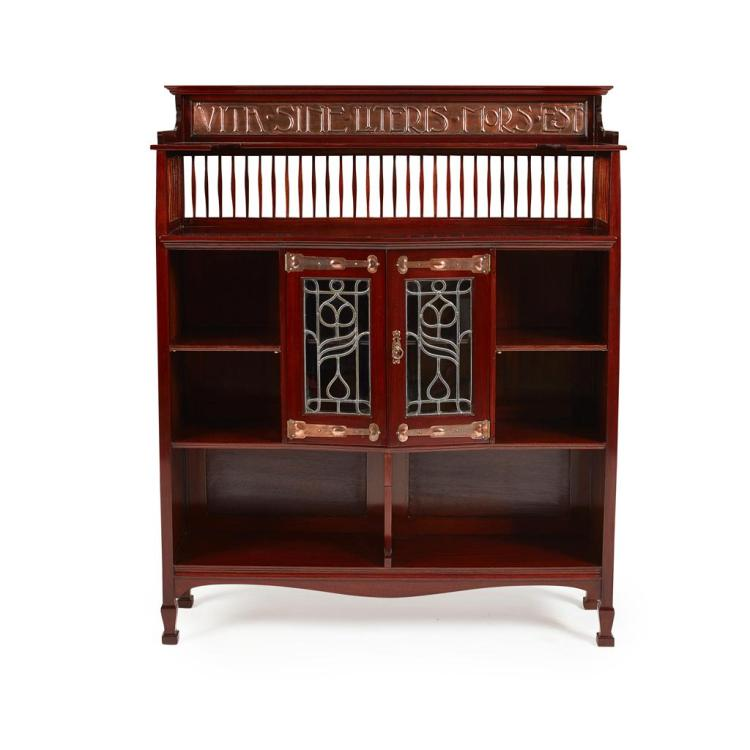 SHAPLAND & PETTER, BARNSTAPLE ARTS & CRAFTS MAHOGANY OPEN BOOKCASE, CIRCA 1905 124cm wide, 155cm high, 36cm deep