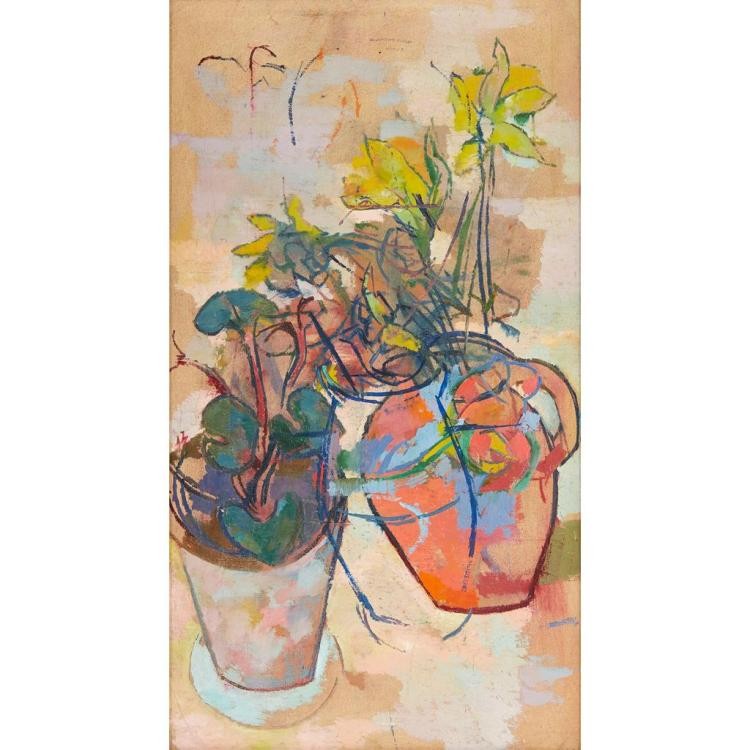 § STELLA STEYN (IRISH 1907-1987) STILL LIFE WITH DAFFODILS 67cm x 36.5cm (26.5in x 14.25in)