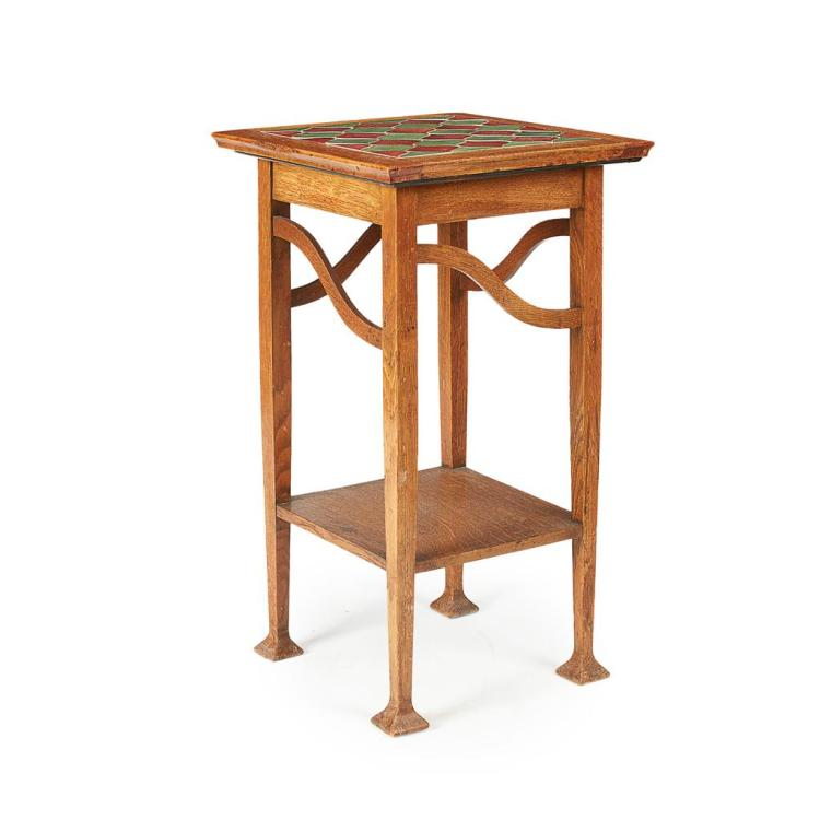ARTS & CRAFTS OAK TWO-TIER OCCASIONAL TABLE, CIRCA 1910 41cm across, 69cm high