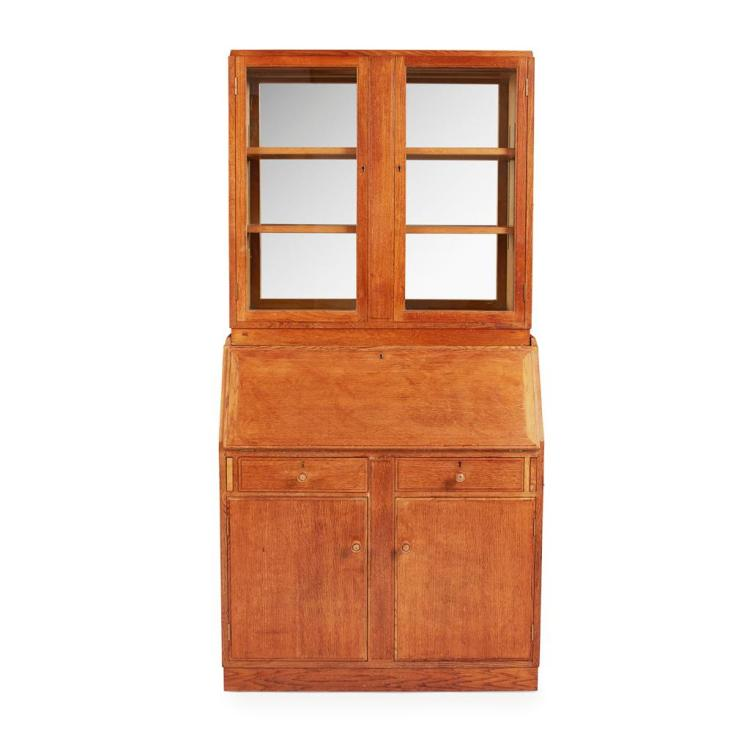 GORDON RUSSELL (1892-1980) OAK BUREAU BOOKCASE, DATED 1956 92cm wide, 190cm high, 40cm deep