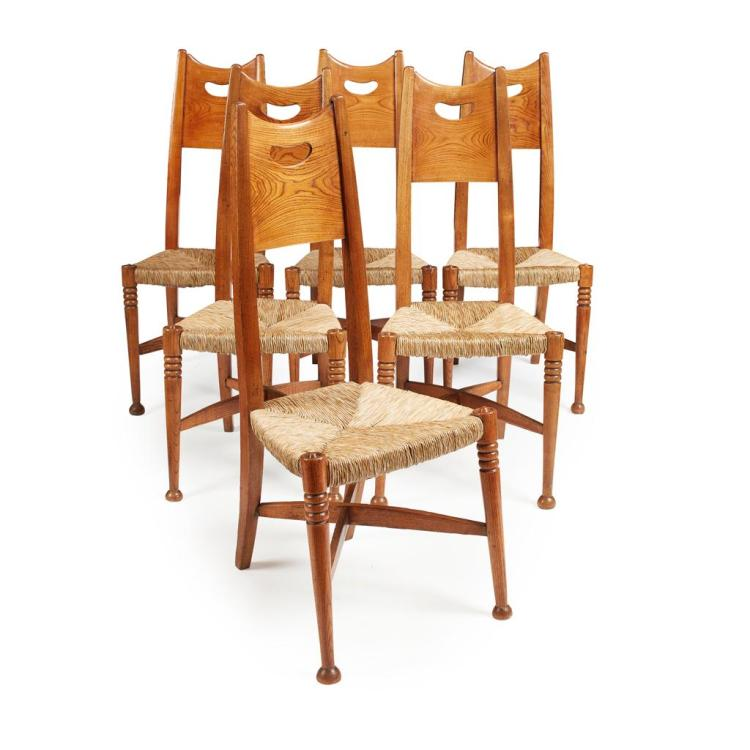 ATTRIBUTED TO GEORGE WALTON FOR WILLIAM BIRCH, HIGH WYCOMBE SET OF SIX ASH DINING CHAIRS, CIRCA 1900 59cm wide, 110cm high, 44cm dee...