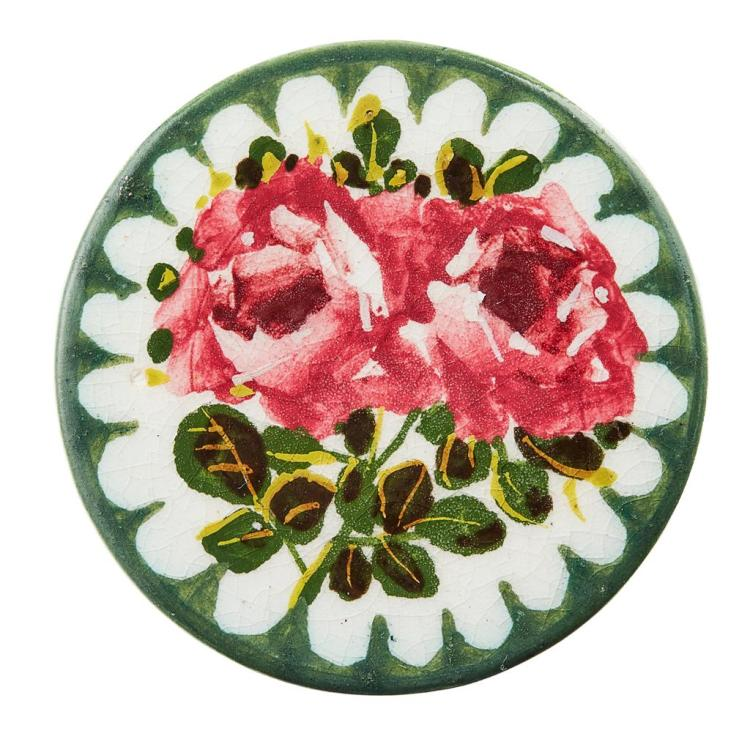 WEMYSS WARE LARGE ''CABBAGE ROSES'' BUTTON, CIRCA 1900 4.3cm diameter