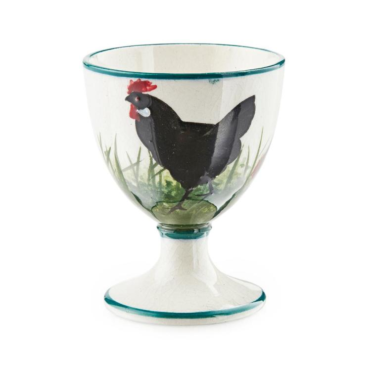 WEMYSS WARE ''BLACK COCKEREL & HENS'' EGG CUP, CIRCA 1900 6.2cm high
