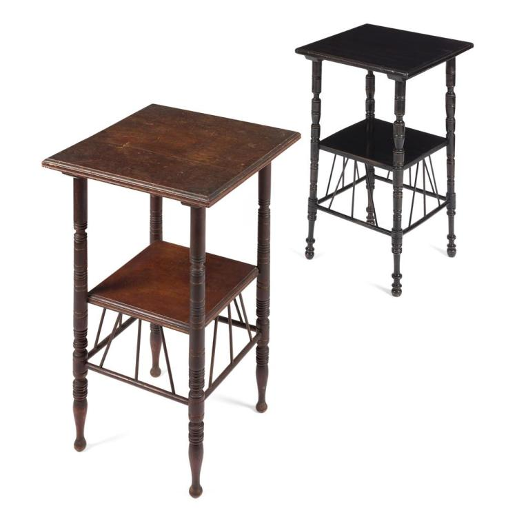 AFTER E.W. GODWIN TWO AESTHETIC MOVEMENT OCCASIONAL TABLES, CIRCA 1890 40cm square, 67cm high