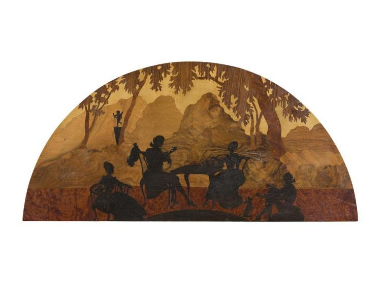 ROWLEY GALLERY (ATTRIBUTED TO) MARQUETRY LUNETTE, CIRCA 1920 112cm wide, 54cm high