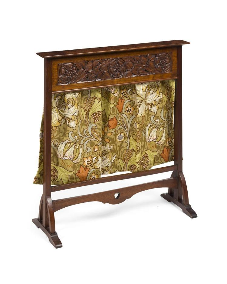 ARTHUR W. SIMPSON (1857-1922), KENDAL CARVED MAHOGANY FIRESCREEN, EARLY 20TH CENTURY 72cm wide, 76cm high