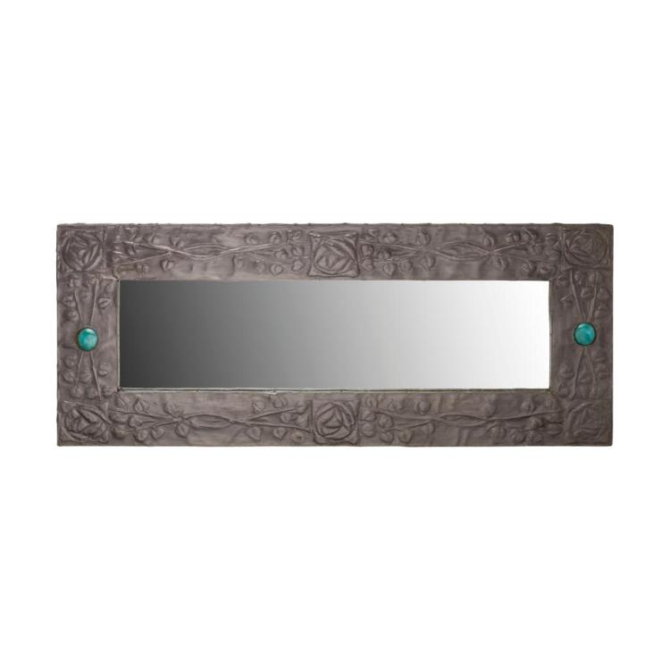 GLASGOW STYLE ARTS & CRAFTS PEWTER WALL MIRROR, CIRCA 1900 52cm x 117cm