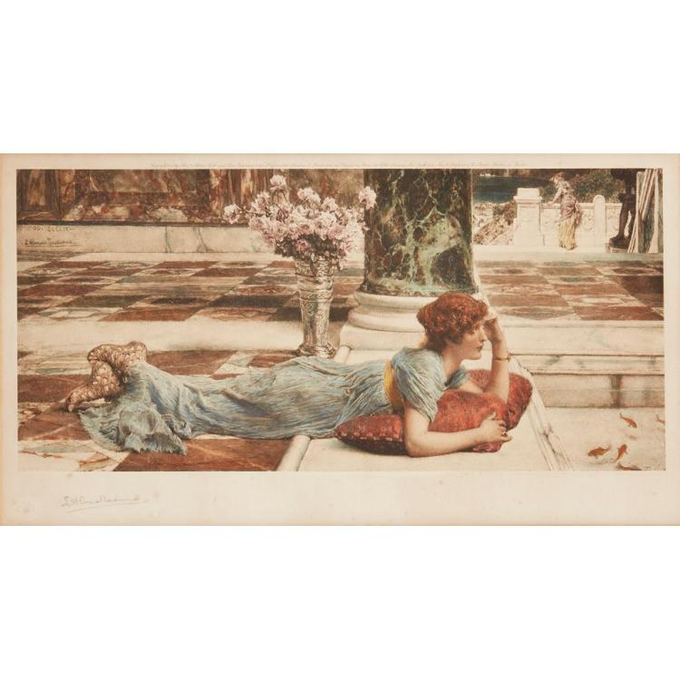 SIR LAWRENCE ALMA-TADEMA (1836-1912) THE GOLDFISH POOL 18cm x 39cm