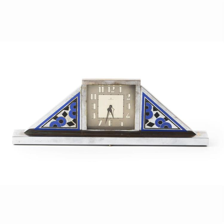 OMEGA ART DECO CHROME PLATED AND ENAMEL MANTEL CLOCK, CIRCA 1925 41cm wide, 14cm high