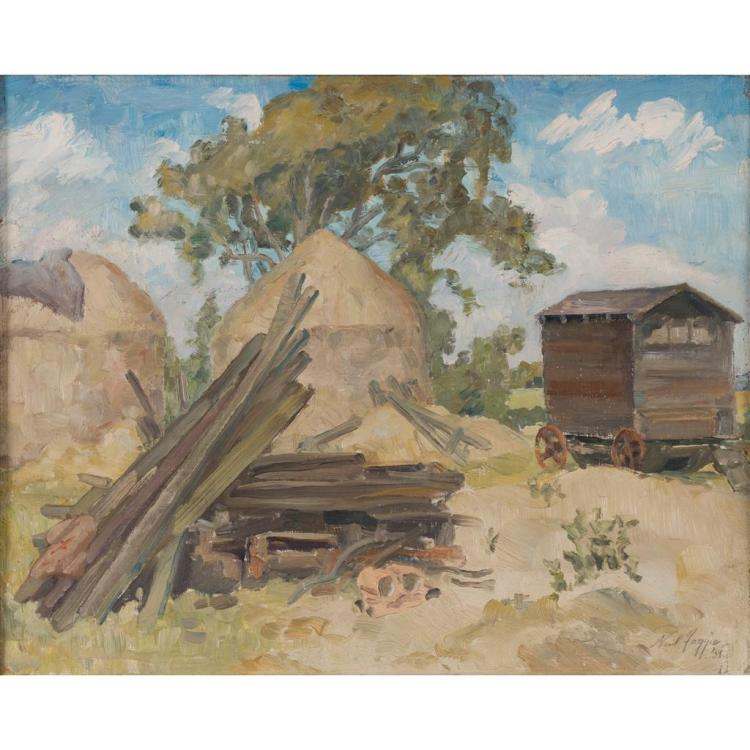 [§] § NEIL FOGGIE (SCOTTISH 1912-1995) HAYSTACKS 40cm x 50.5cm (15.75in x 19.5in)