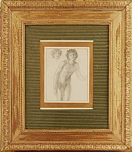 EDWARD COLEY BURNE-JONES (BRITISH 1833-1898) STUDY OF A MALE NUDE - POSSIBLY FOR 'BLIND LOVE' 26cm x 20cm (10.25in x 8in)