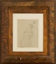 JEAN ACHILLE BÉNOUVILLE (FRENCH 1815-1891) CLASSICAL FIGURE IN DRAPERIES 30cm x 22cm (11.75in x 8.75in)