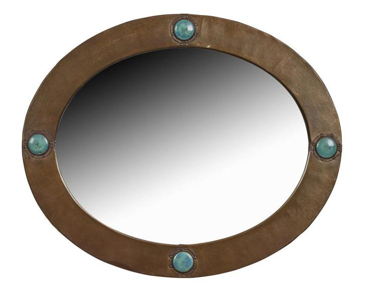 Liberty co london brass framed oval wall mirror circa 1 for Mirror 60cm wide