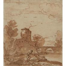 GIOVANNI FRANCESCO GRIMALDI (ITALIAN 1606-1680) A CLASSICAL LANDSCAPE WITH FIGURES AND TOWER 17cm x 21.5cm (10.5in x 8.5in)