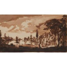 ABRAHAM RADEMAKER (DUTCH 1675-1735) A WOODED RIVER LANDSCAPE WITH SAILING VESSELS 18cm x 32cm (11in x 12.5in)