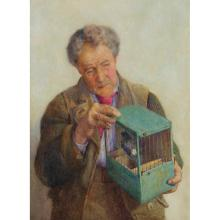 PERCY BROOKE (BRITISH 19TH/20TH CENTURY) THE PET SONG-BIRD 49.5cm x 38cm (19.5in x 15in)