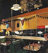 § ALEXANDRA GARDNER (SCOTTISH B. 1946) DINER; RED STRIPE 55cm x 50cm (21.5in x 19.75in)