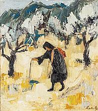 § PERPETUA POPE (SCOTTISH 1916-2013) OLD WOMAN, KARAKOUMI, CYPRUS 46cm x 40cm (18in x 15.75in)