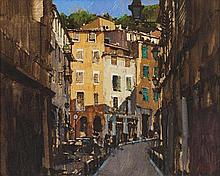 § DAVID SAWYER R.B.A. (BRITISH B.1961) VIELLE VILLE - NICE 22cm x 28cm (8.75in x 11in)
