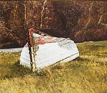 § JOHN GARDINER CRAWFORD R.S.W. (SCOTTISH B.1941) UPTURNED 49cm x 68cm (19.25in x 26.75in)