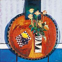 § DAVID M. MARTIN R.S.W., R.G.I. (SCOTTISH B.1922) STILL LIFE OF ROSES ON A RED TABLE 76cm x 75cm (30in x 29.5in)