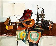 § NORMAN KIRKMAN R.G.I. (SCOTTISH B.1936) MUSICAL ARRANGEMENT 74cm x 90cm (29in x 35.5in)