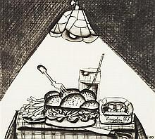 § JACK KNOX R.S.A. (SCOTTISH B.1936) DINER, LANSING 50cm x 55cm (19.75in x 21.5in)