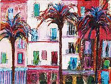 § ANN ORAM R.S.W. (SCOTTISH B.1956) CENTRAL SQUARE, CADIZ 29cm x 38cm (11.5in x 15in)